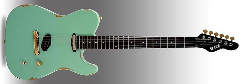 SLICK GUITARS SL 50 Surf Green E-Gitarren SLICK